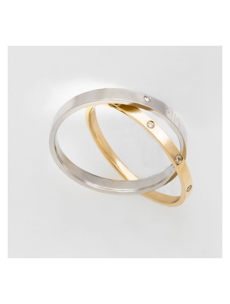 Bliss yellow gold and steel wedding band with diamonds