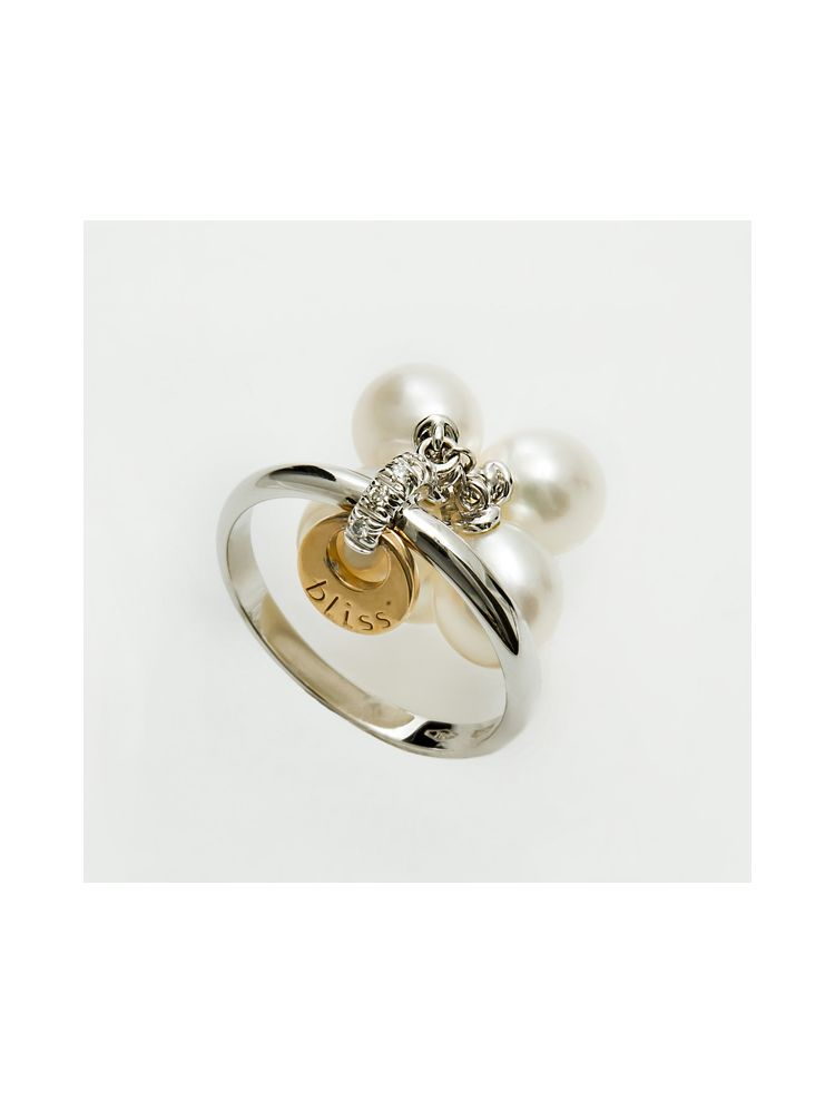 Bliss white and pink gold ring with diamonds and pearls