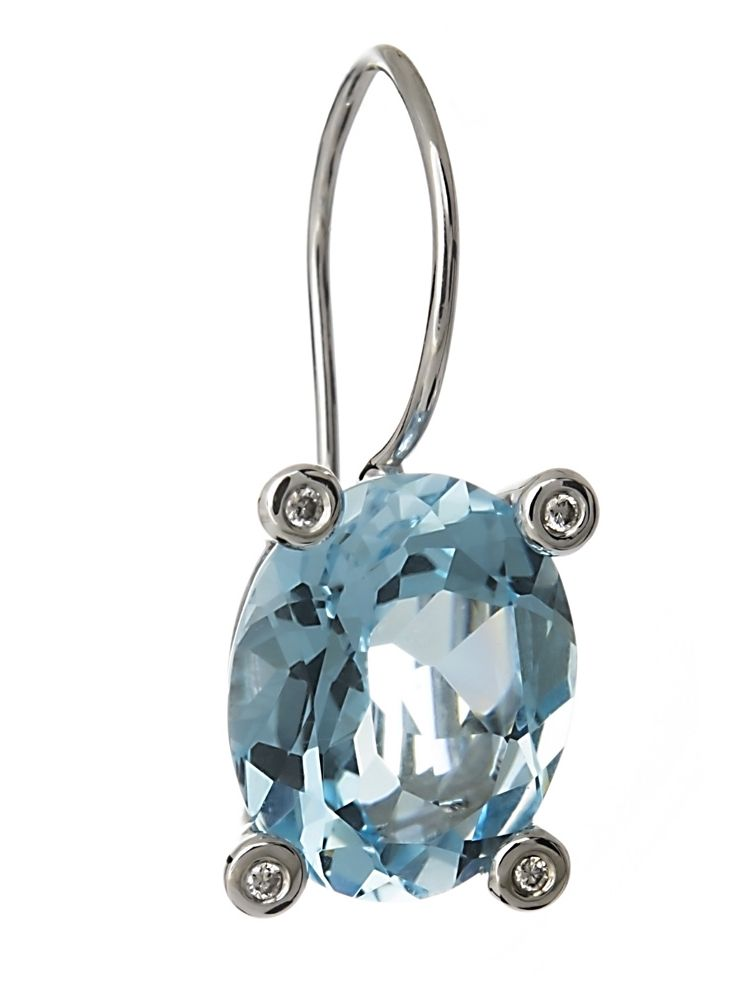 Bliss white gold earrings with diamonds blue topaz