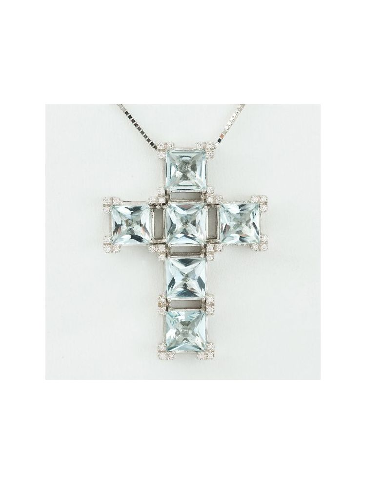 Casato Roma pink gold cross pendant with white and brown diamonds and chain
