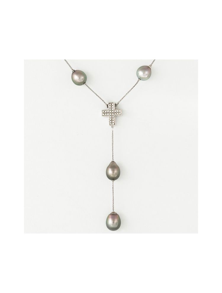 Salvini white gold necklace with pearls and diamonds