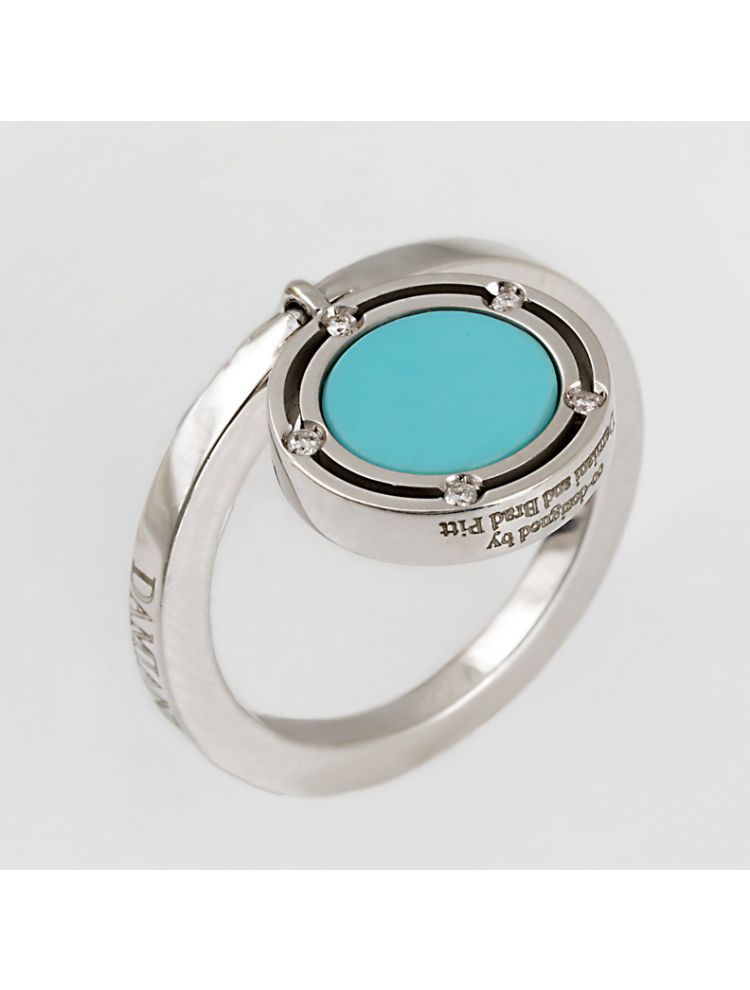 Damiani white gold ring with turquoise and diamonds