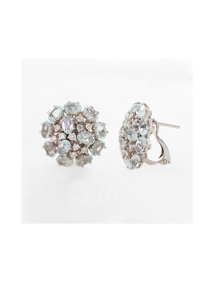 Alfieri & St.John white gold earrings with aquamarine and diamonds