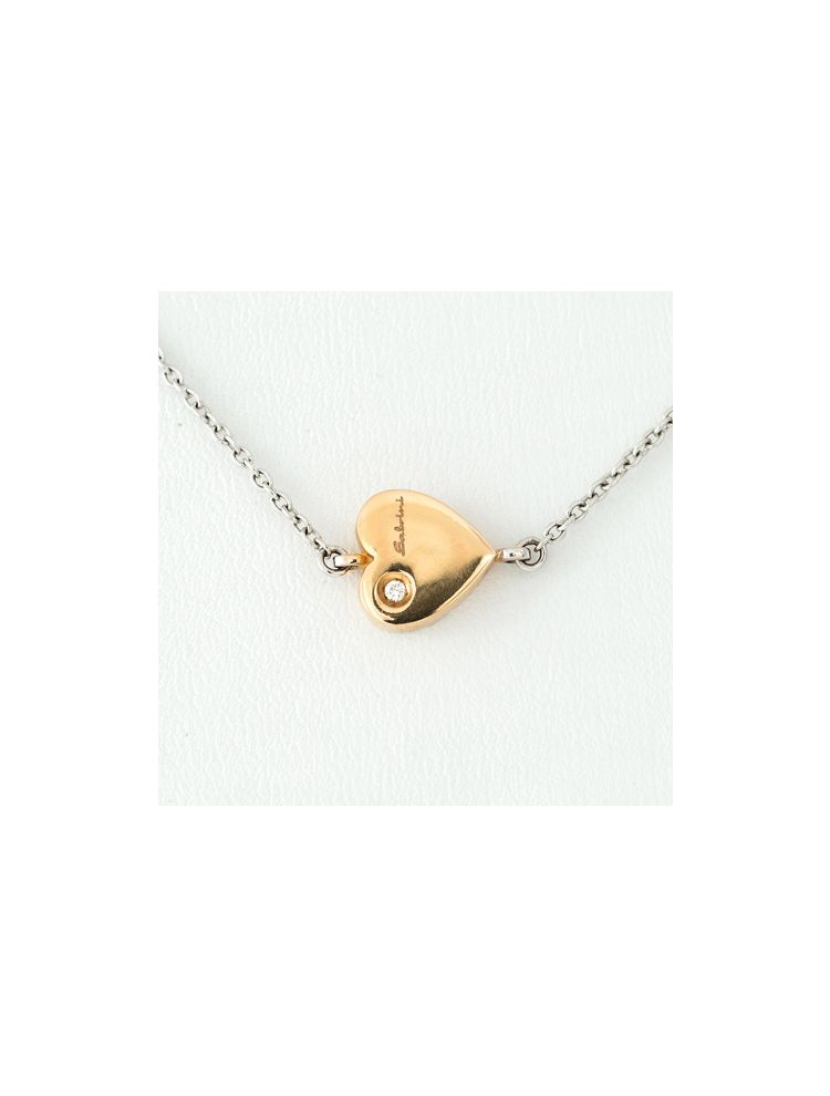 Salvini white and pink gold chain, heart pendant with diamond