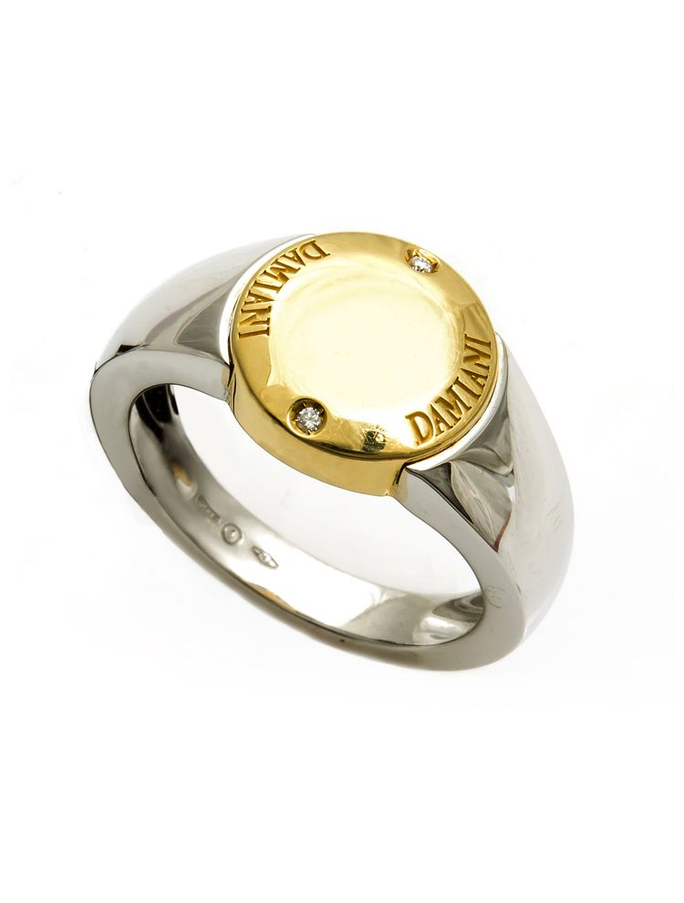 Damiani white and yellow gold ring with diamond