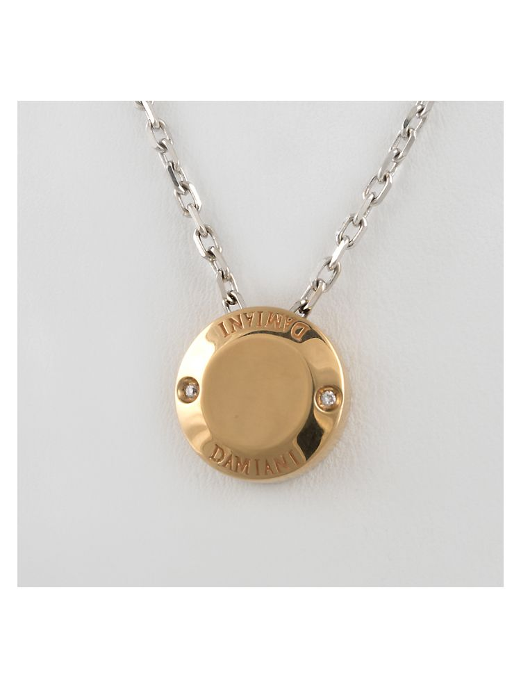 Damiani white and pink gold pendant with diamond