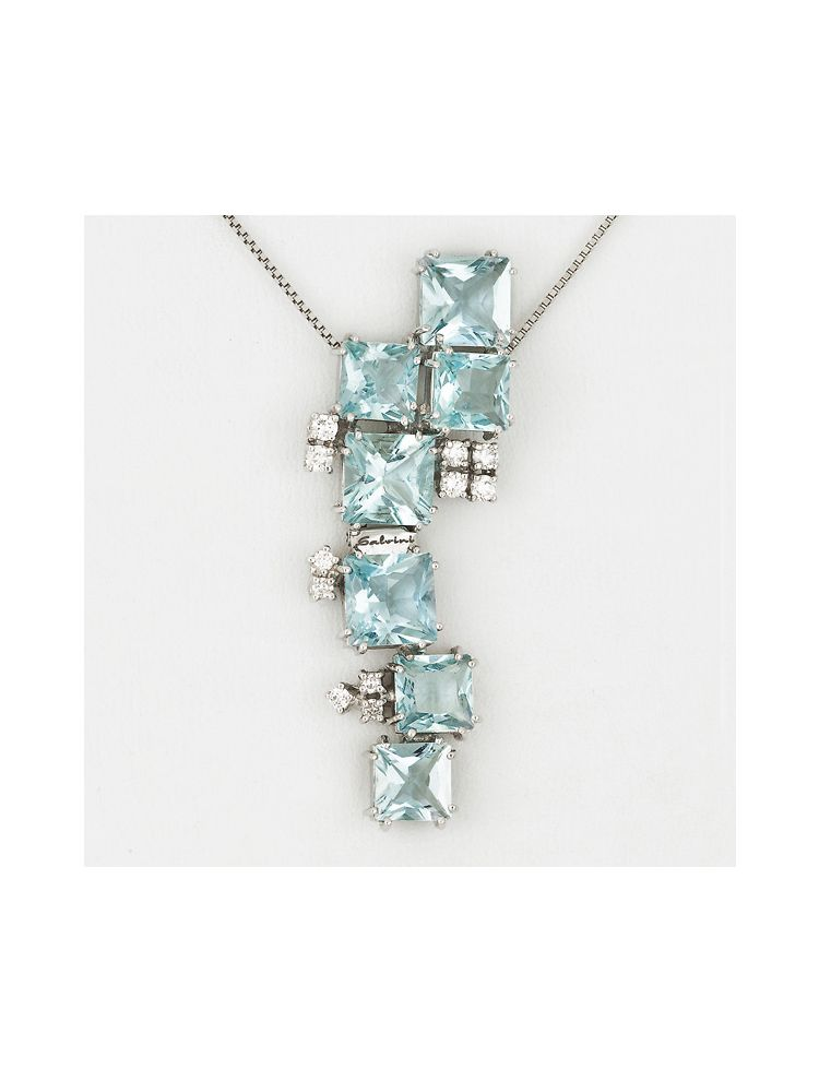 Salvini white gold chain and pendant with aquamarine and diamonds