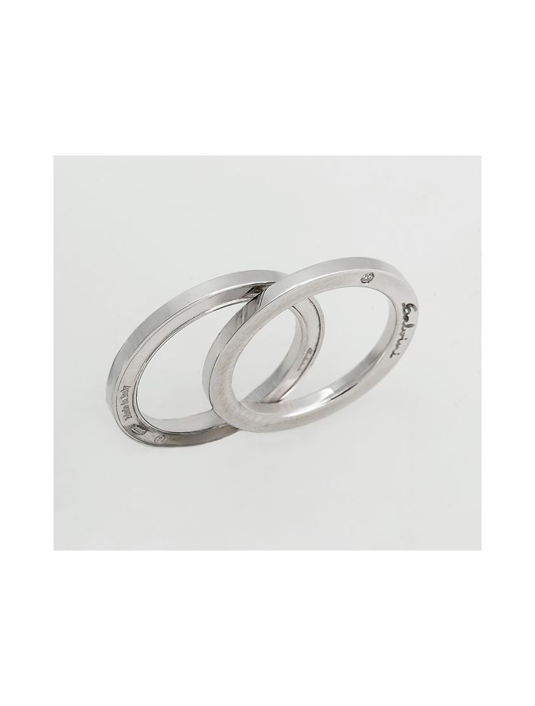 Salvini white gold wedding bands with diamonds