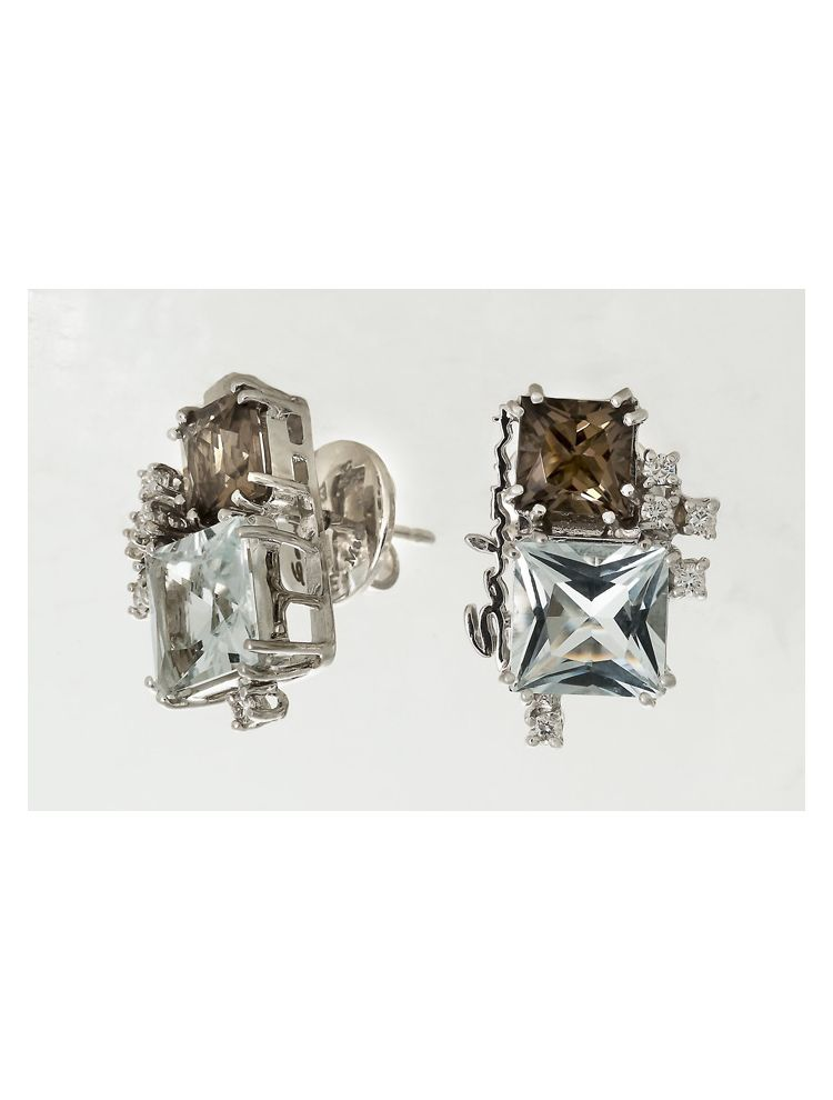 Salvini white gold earrings with smoky topaz, aquamarine and diamonds