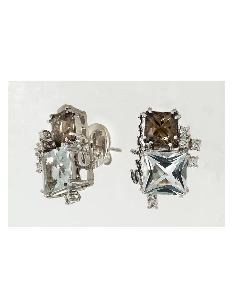 Salvini white gold earrings with smoky topaz, aquamarine and diamonds