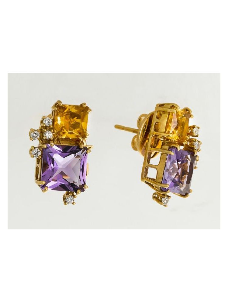 Salvini yellow gold earrings with amethyst, citrine and diamonds