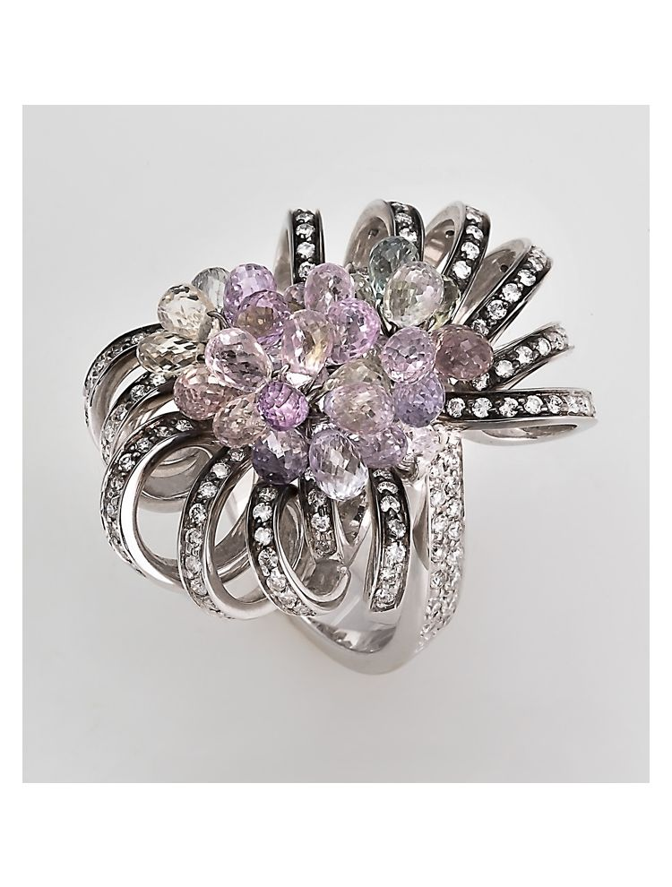 Alfieri & St.John white gold ring with white diamonds and semi precious stones