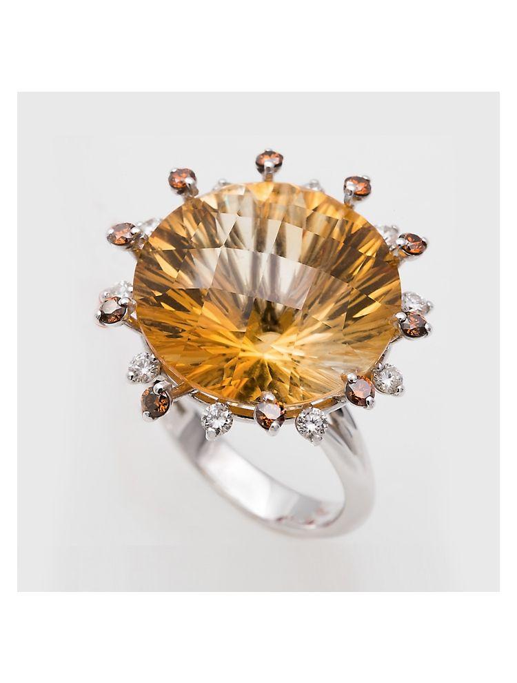 Alfieri & St.John white gold ring with citrine and diamonds