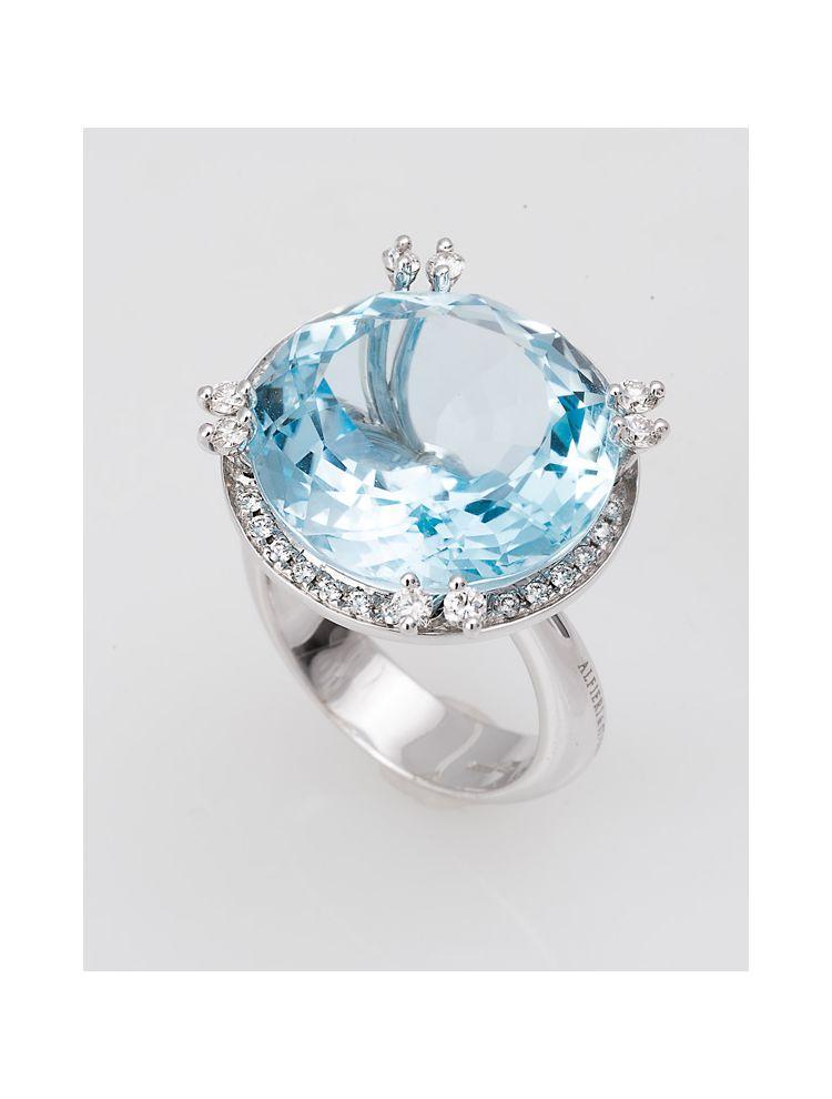 Alfieri & St.John white gold ring with blue topaz and diamonds
