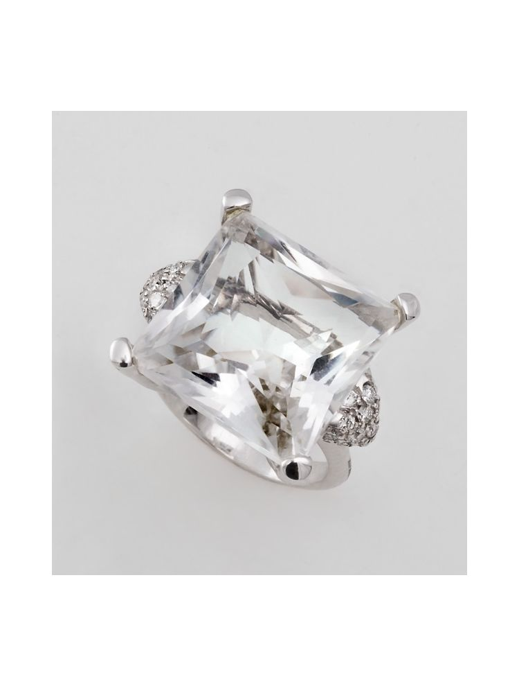 Alfieri & St.John white gold ring with diamonds and white crystal