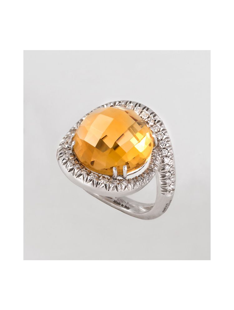 Alfieri & St.John white gold ring with citrine and diamonds
