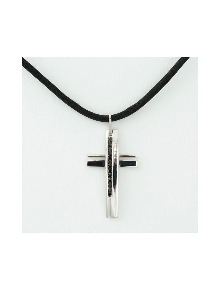 Salvini Leather necklace and white gold cross pendant with black diamonds