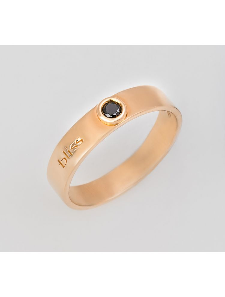 Bliss yellow gold wedding band with black diamonds