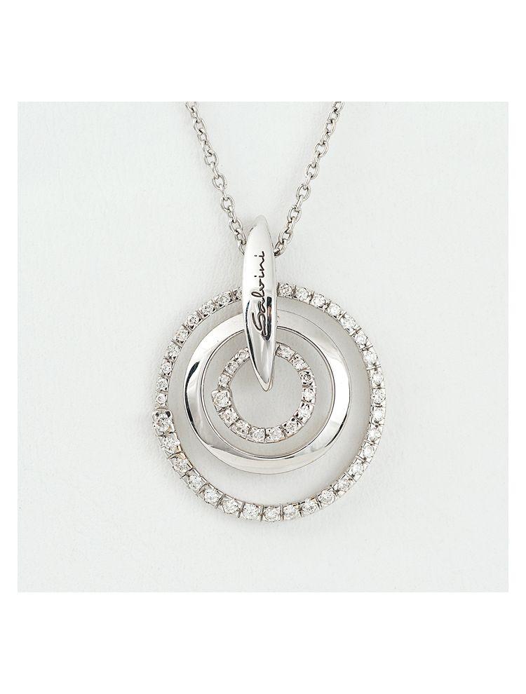 Salvini white gold chain and circle pendant with diamonds