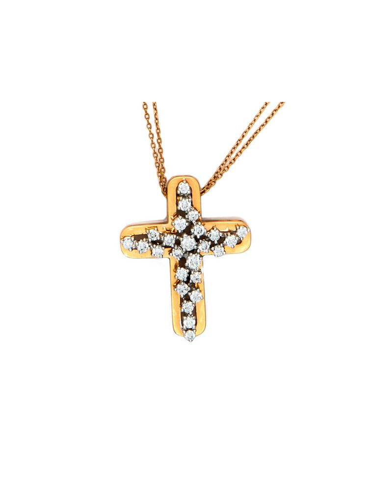 Damiani pink gold chain and cross pendant with diamonds