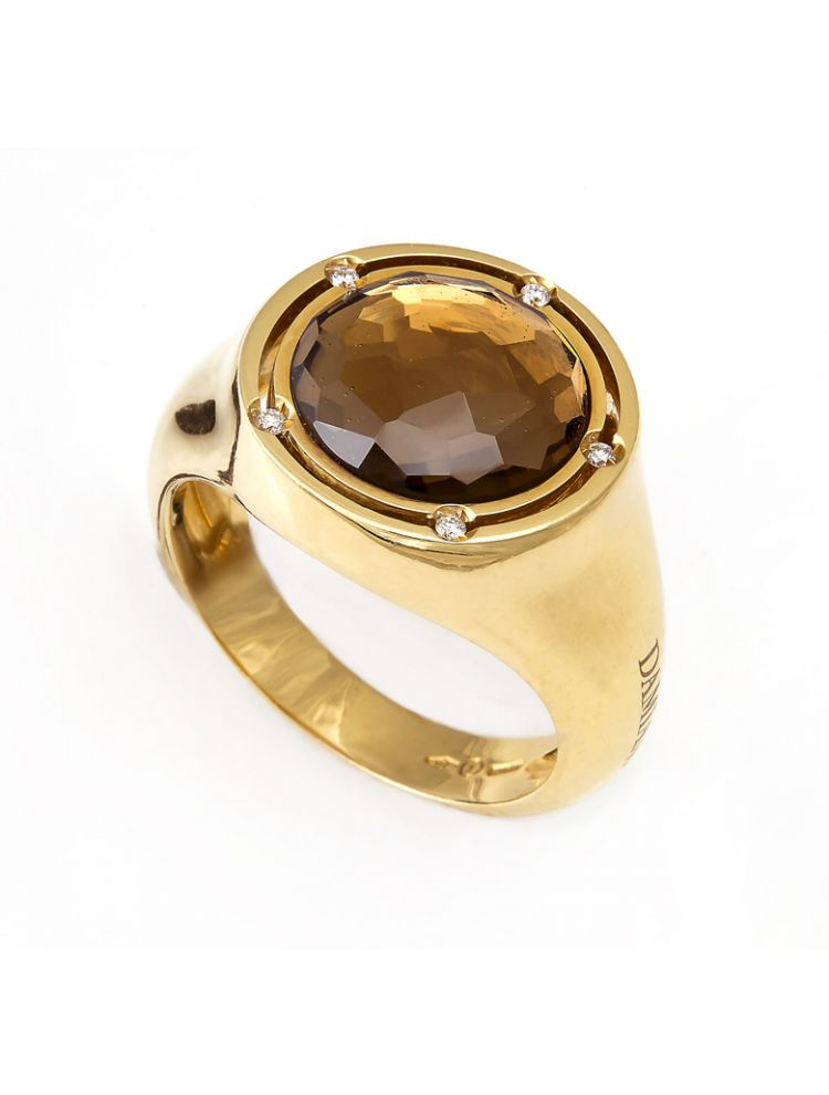 Damiani yellow gold ring with citrine and diamonds