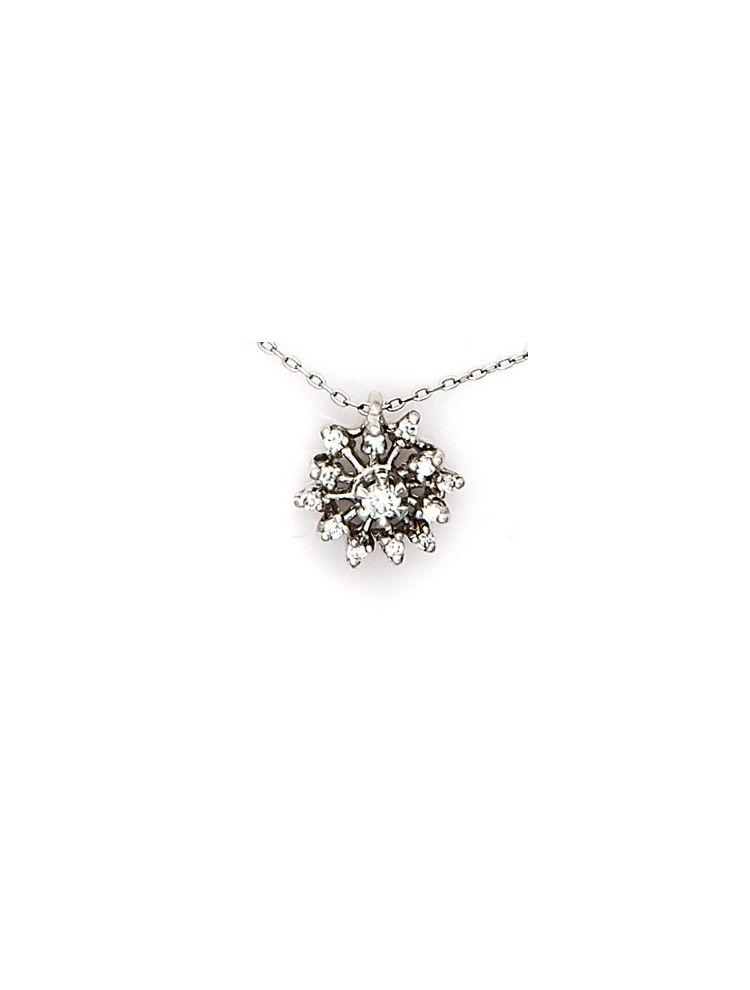 Alfieri & St.John white gold chain and pendant with white diamonds