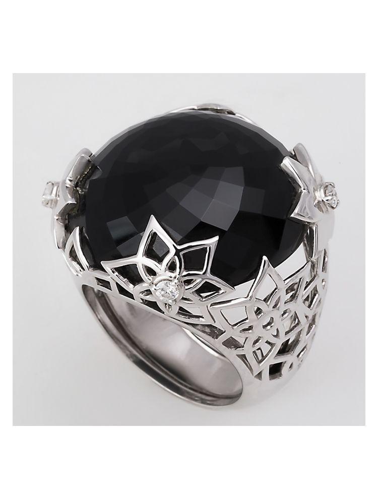 Alfieri & St.John white gold ring with black onyx and diamonds