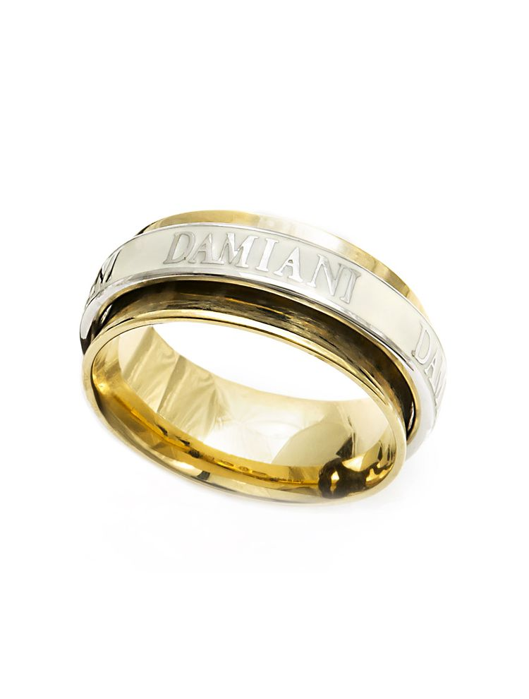 Damiani yellow gold wedding band with enamel and diamond