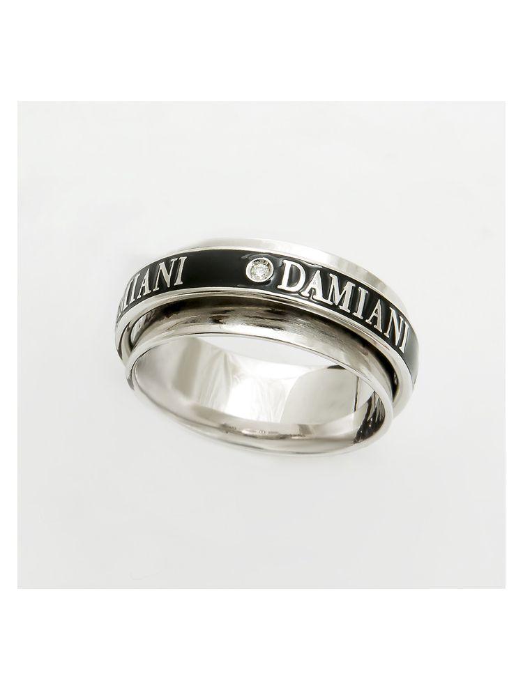 Damiani gold white gold wedding bend with black enamel and diamond