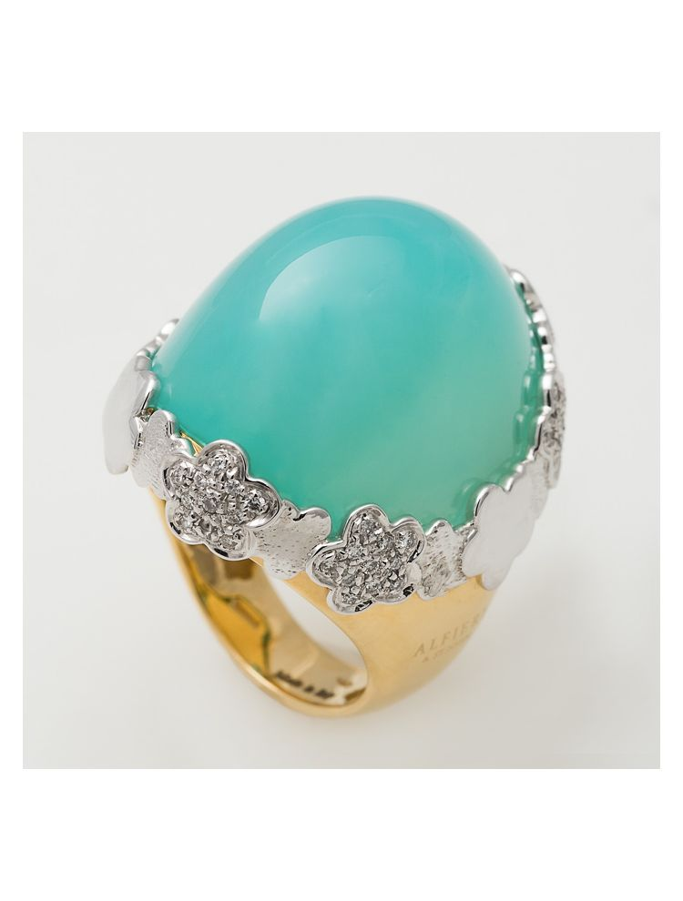 Alfieri & St.John yellow and white gold ring with green chalcedony and diamonds