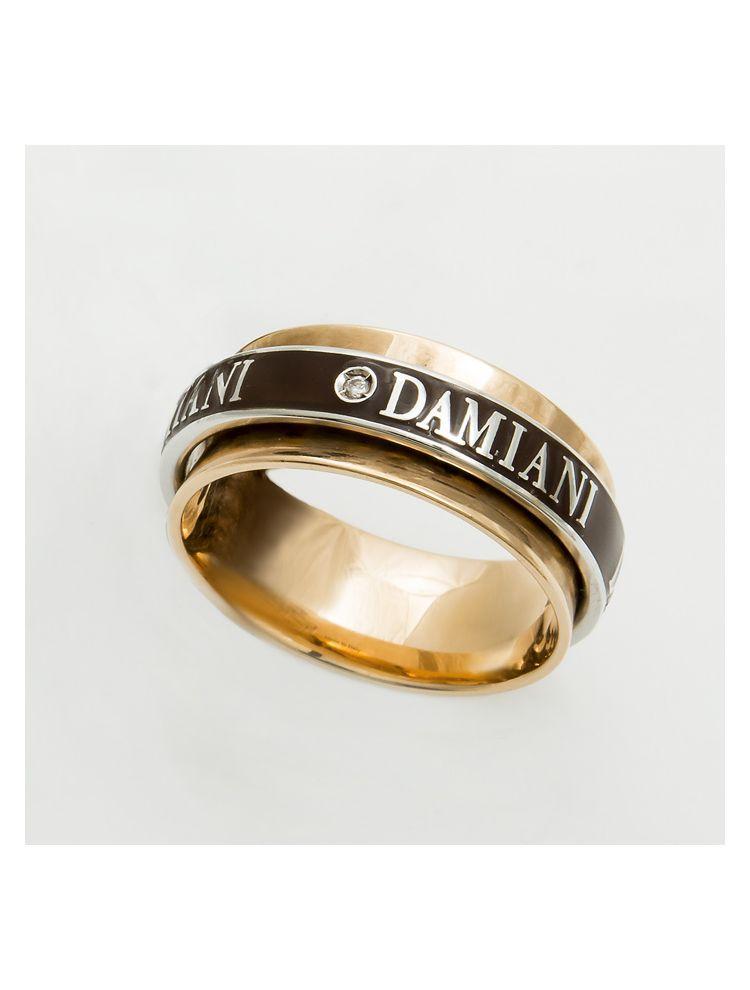 Damiani pink gold wedding bend with brown enamel and diamond