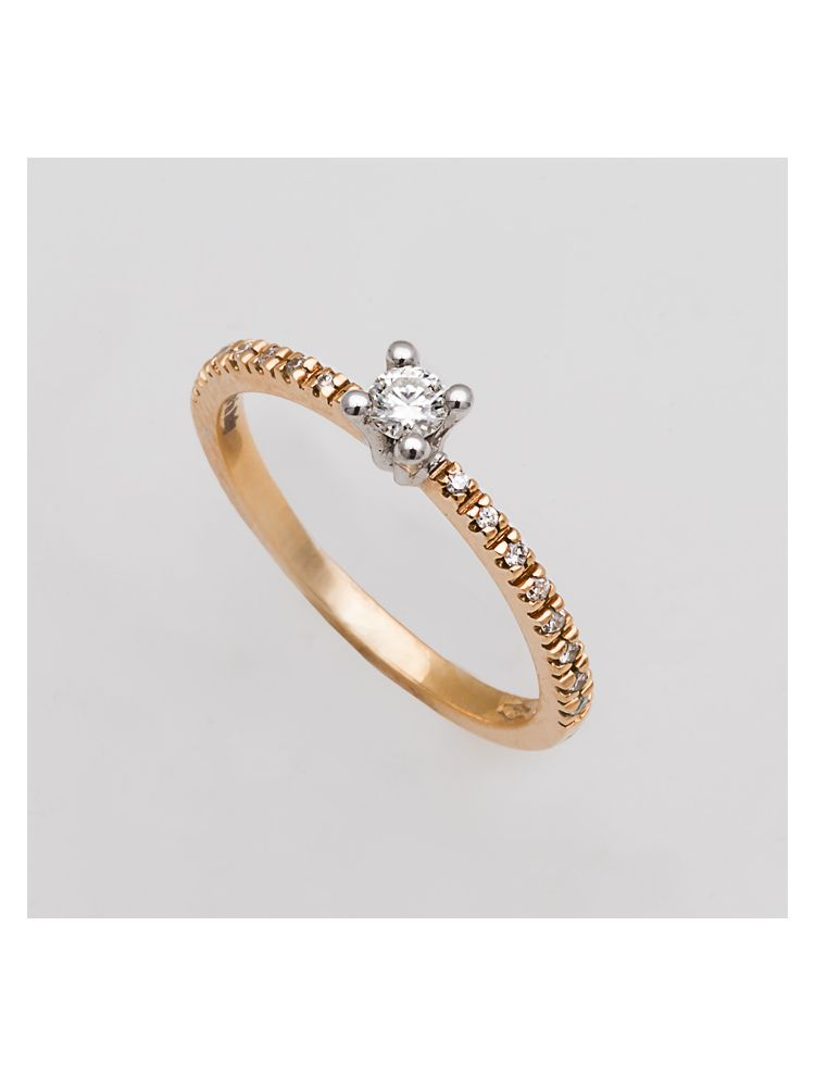 Alfieri & St.John yellow gold engagement ring with diamonds