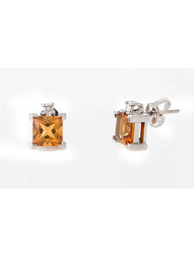 Alfieri & St.John white gold earrings with citrine and diamonds