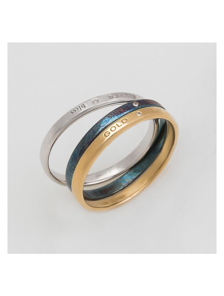 Bliss yellow gold, silver and bronze wedding band with diamonds