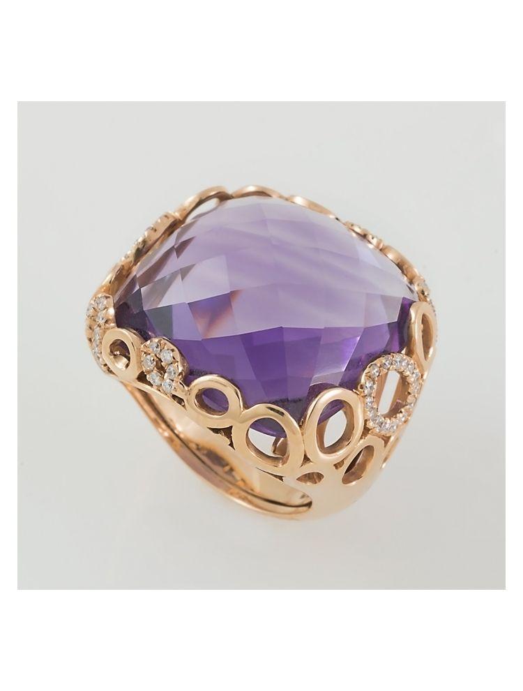 Alfieri & St.John yellow gold ring with amethyst and diamonds