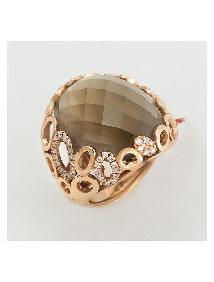 Alfieri & St.John yellow gold ring with smoky quartz and diamonds