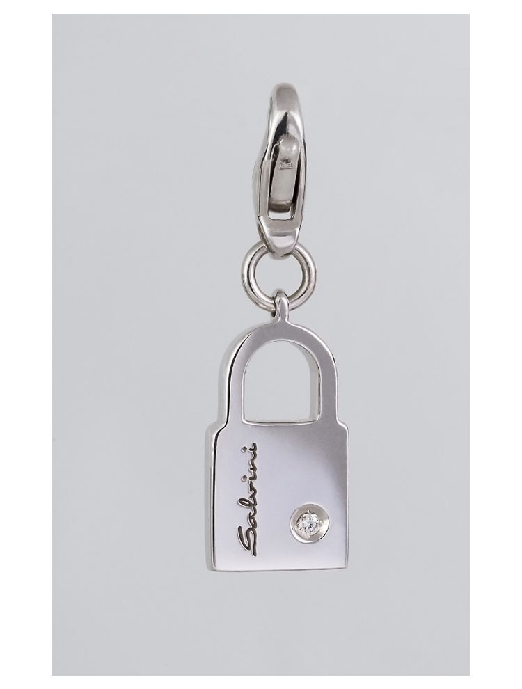 Salvini white gold padlock pendant/charm with diamond