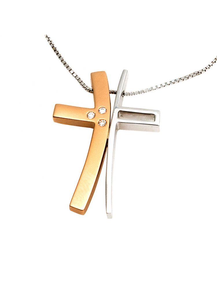 Alfieri & St.John white gold chain cross pendant with diamonds