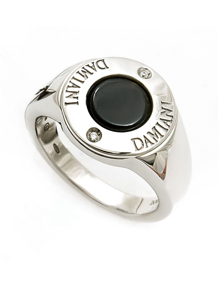 Damiani silver ring with diamond and onyx