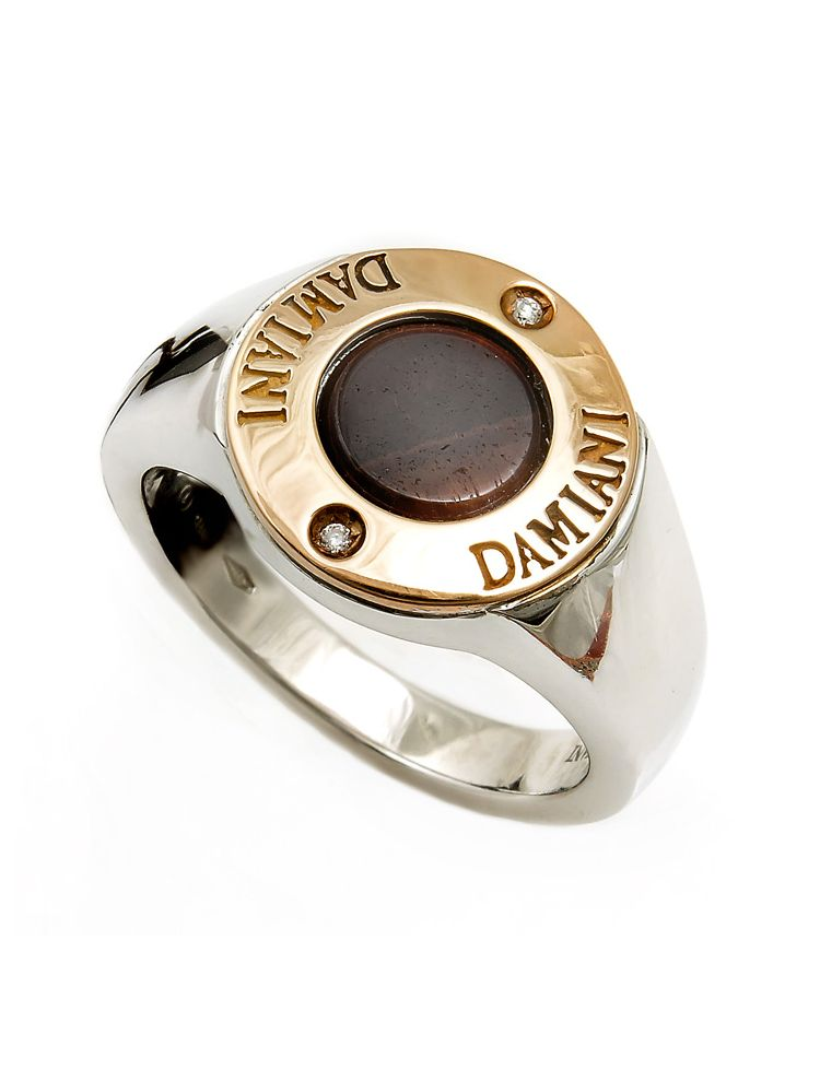 Damiani silver and pink gold ring with tiger eye