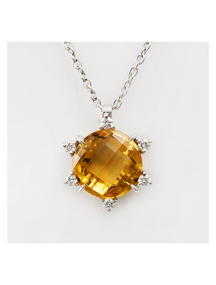 Alfieri & St.John white gold chain and pendant with citrine and diamonds