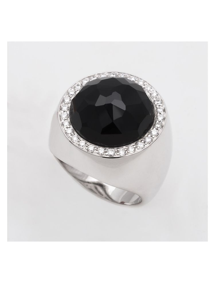 Alfieri & St.John white gold ring with black onyx and diamonds