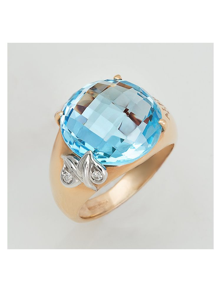 Alfieri & St.John yellow gold ring with blue topaz and diamonds