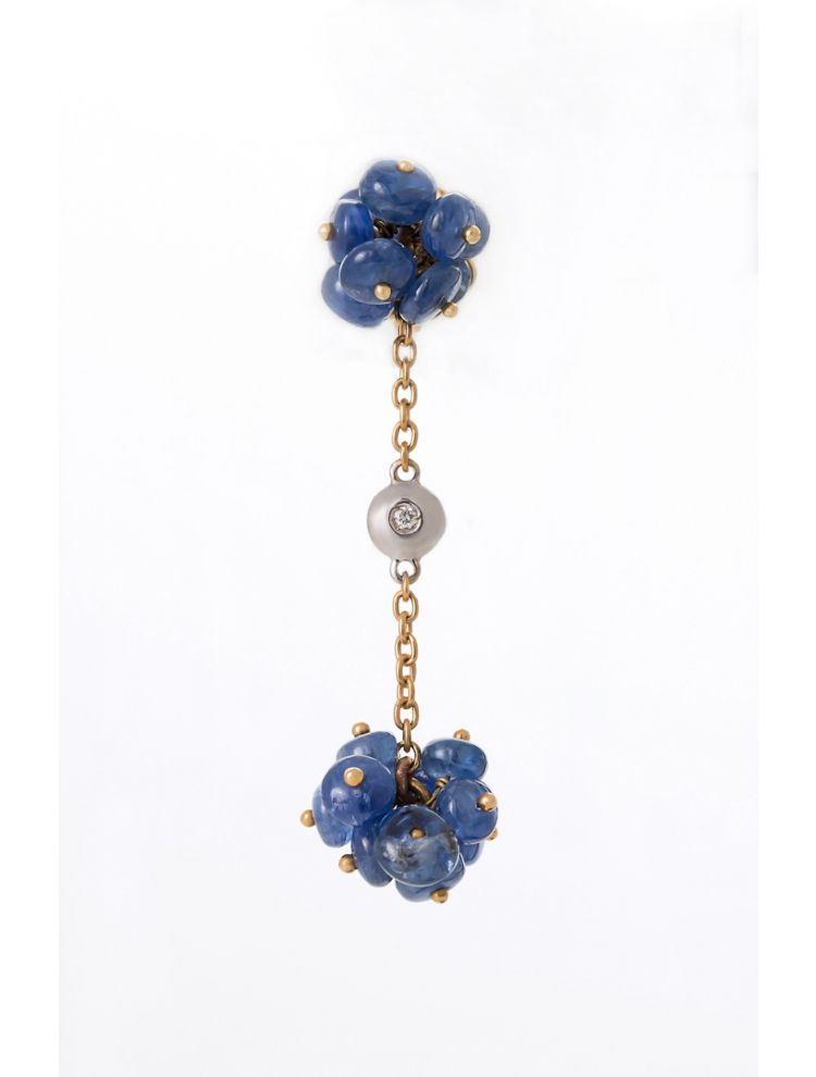 Alfieri & St.John yellow gold earrings with blue sapphires and diamonds