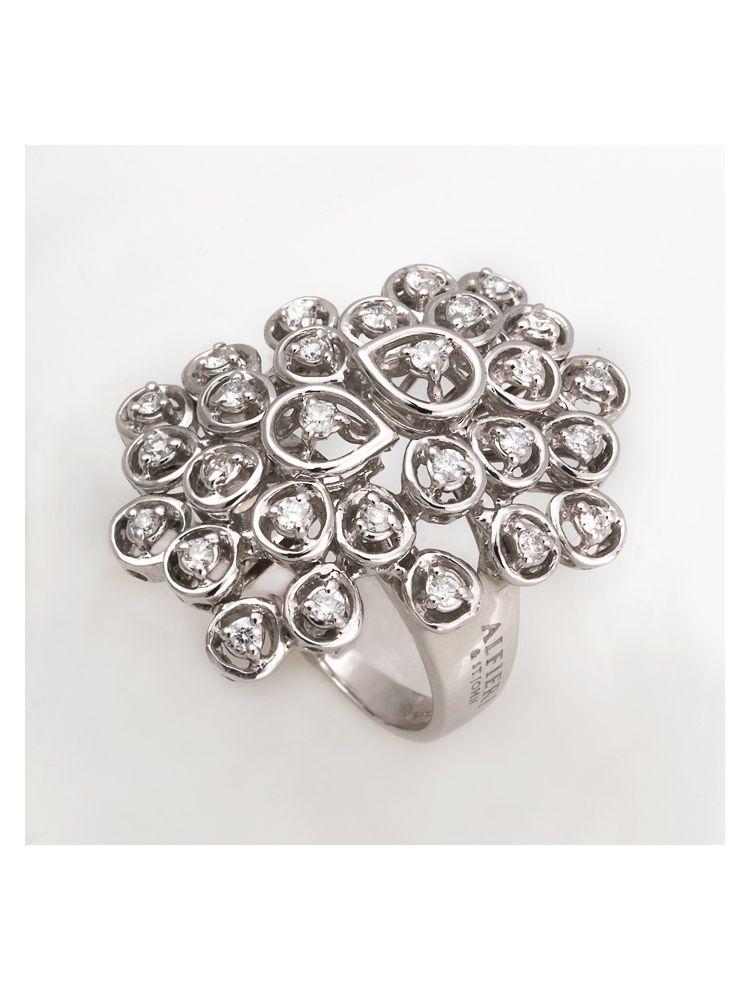 Alfieri & St.John white gold ring with white diamonds