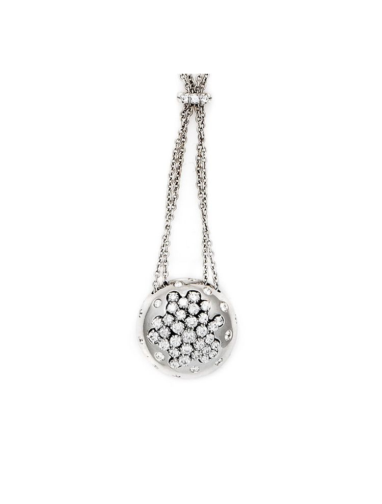 Damiani white gold necklace and pendant with white diamonds