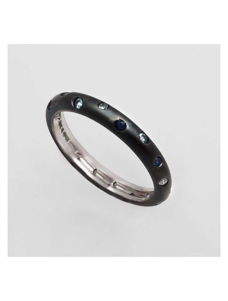 Alfieri & St.John white gold blue rhodium wedding band with sapphires and diamond