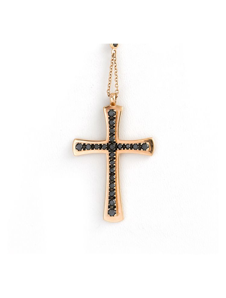 Damiani pink gold chain and cross pendant with black diamonds