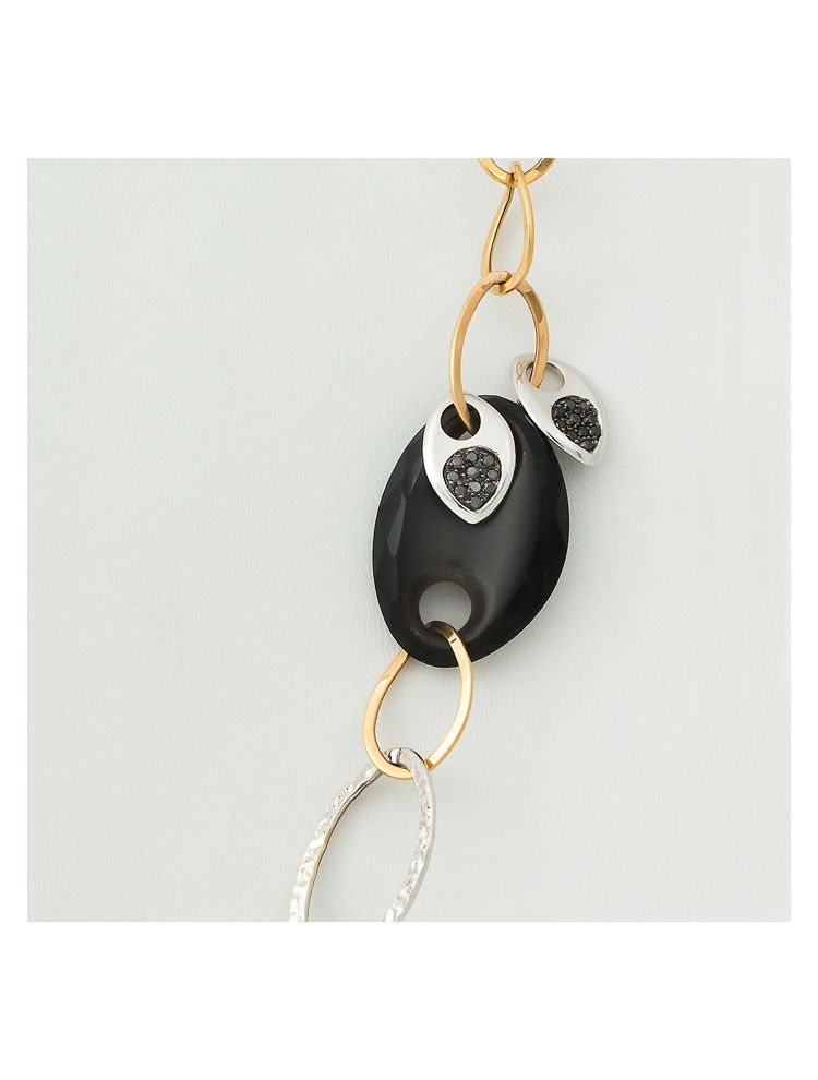 Talento Italiano white and yellow gold necklace with onyx and diamonds