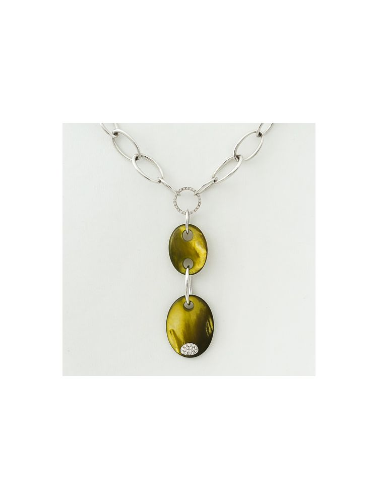 Talento Italiano white gold necklace with mother of pearl and diamonds